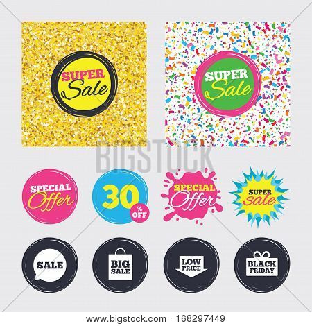 Gold glitter and confetti backgrounds. Covers, posters and flyers design. Sale speech bubble icon. Black friday gift box symbol. Big sale shopping bag. Low price arrow sign. Sale banners. Vector
