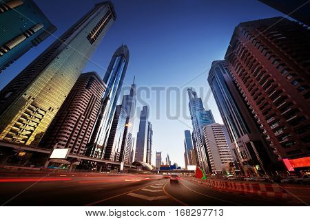 Sheikh Zayed Road in sunset time, Dubai, UAE
