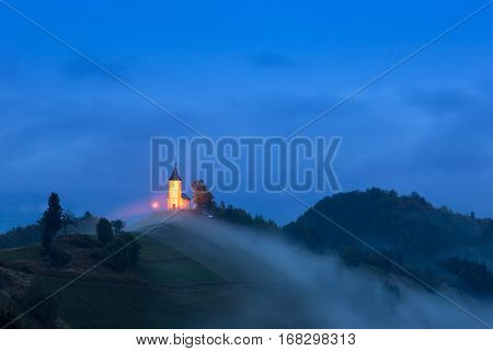 St. Primoz Church On The Hill At Sunset At Jamnik