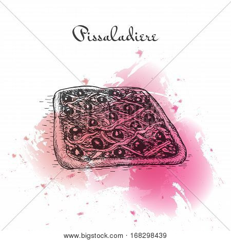 Pissaladier watercolor effect illustration. Vector illustration of French cuisine.
