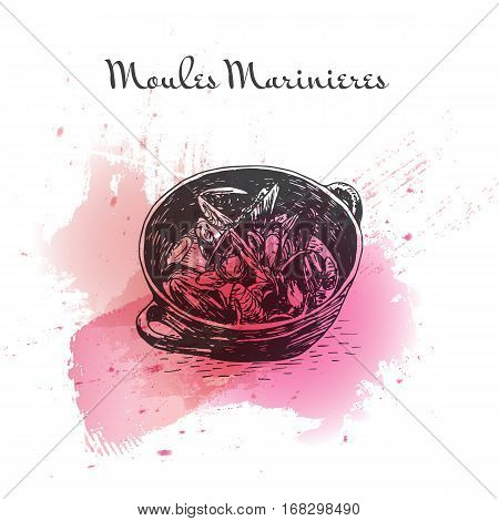 Moules Marinieres watercolor effect illustration. Vector illustration of French cuisine.