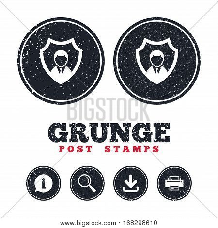 Grunge post stamps. Security agency sign icon. Shield protection symbol. Information, download and printer signs. Aged texture web buttons. Vector