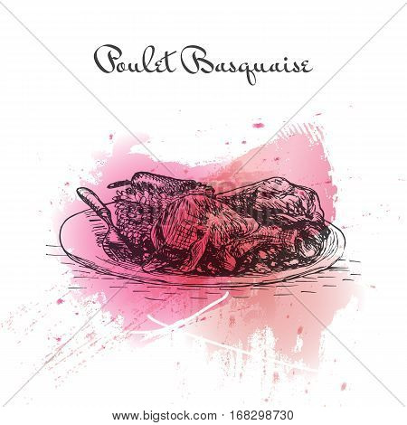Poulet Basquaise watercolor effect illustration. Vector illustration of French cuisine.
