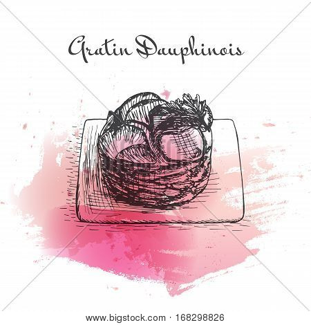 Gratin Dauphinois watercolor effect illustration. Vector illustration of French cuisine.