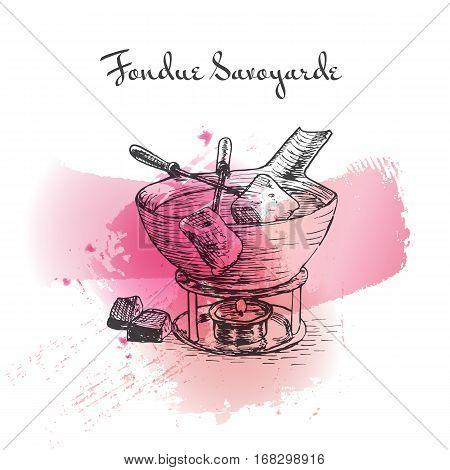 Fondue Savoyarde watercolor effect illustration. Vector illustration of French cuisine.