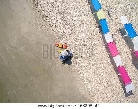 Top View of Umbrellas in a Paradise Island