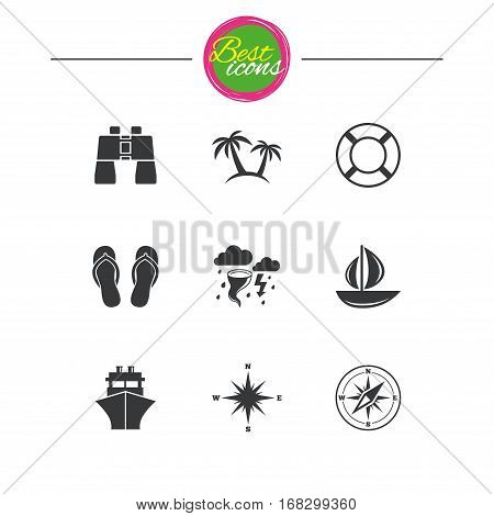 Cruise trip, ship and yacht icons. Travel, lifebuoy and palm trees signs. Binoculars, windrose and storm symbols. Classic simple flat icons. Vector