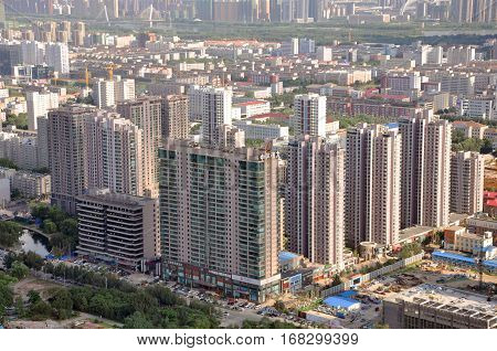SHENYANG, CHINA - JUL. 29, 2012: Aerial view of Modern Apartment buildings in downtown of Shenyang, Liaoning Province, China. Shenyang is the largest city in Northeast China (Manchuria).