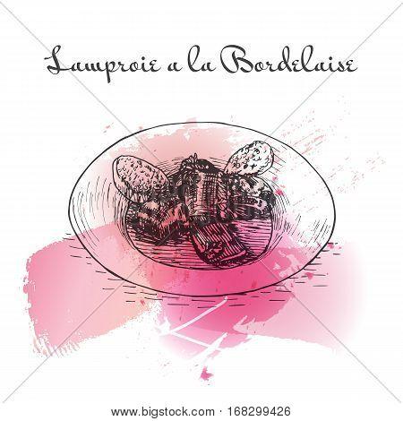 Lamproie a la Bordelaise watercolor effect illustration. Vector illustration of French cuisine.