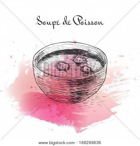Soupe de Poisson watercolor effect illustration. Vector illustration of French cuisine.
