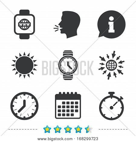 Smart watch with internet icons. Mechanical clock time, Stopwatch timer symbols. Wrist digital watch sign. Information, go to web and calendar icons. Sun and loud speak symbol. Vector