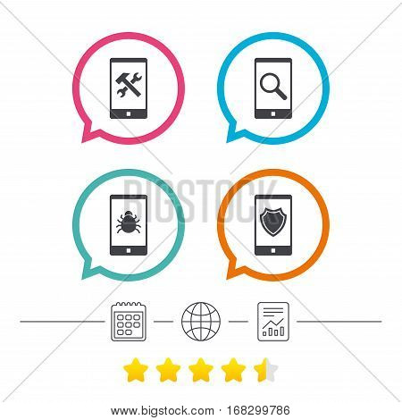 Smartphone icons. Shield protection, repair, software bug signs. Search in phone. Hammer with wrench service symbol. Calendar, internet globe and report linear icons. Star vote ranking. Vector