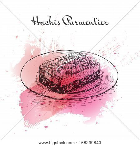 Hachis Parmentier watercolor effect illustration. Vector illustration of French cuisine.