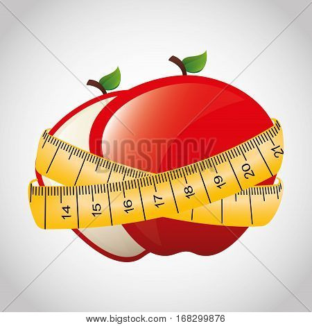 fresh fruit with tape measure vector illustration design