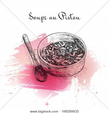 Soupe au Pistou watercolor effect illustration. Vector illustration of French cuisine.