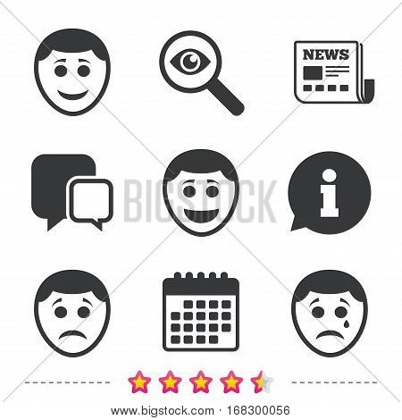 Human smile face icons. Happy, sad, cry signs. Happy smiley chat symbol. Sadness depression and crying signs. Newspaper, information and calendar icons. Investigate magnifier, chat symbol. Vector
