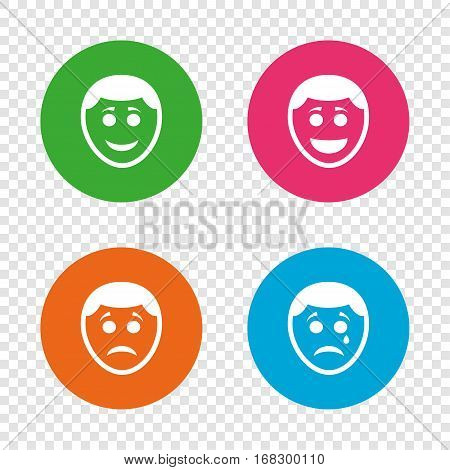 Human smile face icons. Happy, sad, cry signs. Happy smiley chat symbol. Sadness depression and crying signs. Round buttons on transparent background. Vector