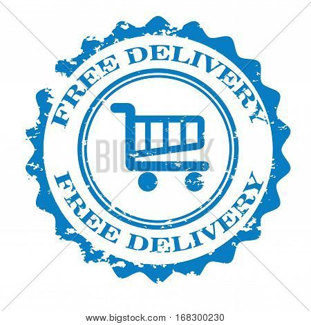 Free delivery stamp.insignia design isolated on white