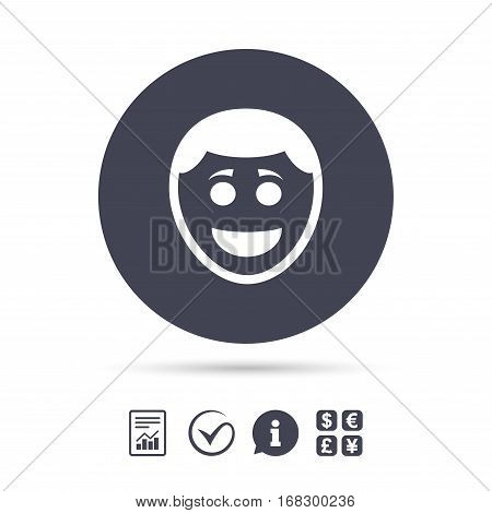 Smile face sign icon. Happy smiley with hairstyle chat symbol. Report document, information and check tick icons. Currency exchange. Vector