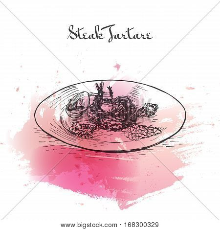 Steak Tartare watercolor effect illustration. Vector illustration of French cuisine.