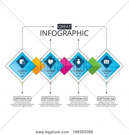 Infographic flowchart template. Business diagram with options. Social media icons. Chat speech bubble and Mail messages symbols. Love heart sign. Human person profile. Timeline steps. Vector