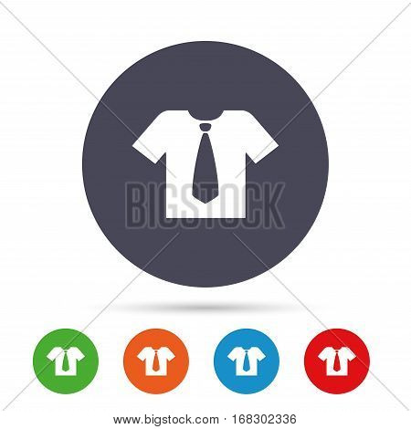 Shirt with tie sign icon. Clothes with short sleeves symbol. Round colourful buttons with flat icons. Vector