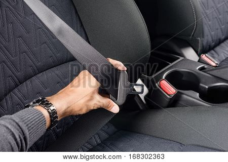 closeup automobile safety belt (seat belt), transportation concept