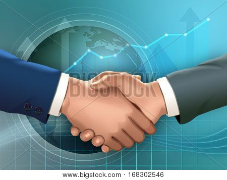 Two businessmen shaking hands. Digital illustration.