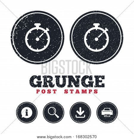Grunge post stamps. Timer sign icon. Stopwatch symbol. Information, download and printer signs. Aged texture web buttons. Vector