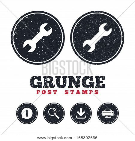 Grunge post stamps. Repair tool sign icon. Service symbol. Information, download and printer signs. Aged texture web buttons. Vector