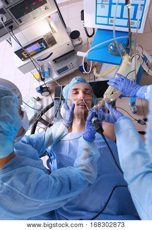 Operating of patient in modern clinic