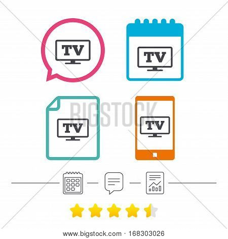 Widescreen TV sign icon. Television set symbol. Calendar, chat speech bubble and report linear icons. Star vote ranking. Vector