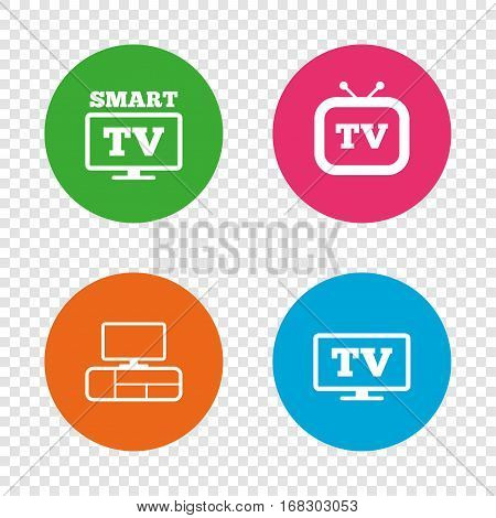 Smart TV mode icon. Widescreen symbol. Retro television and TV table signs. Round buttons on transparent background. Vector