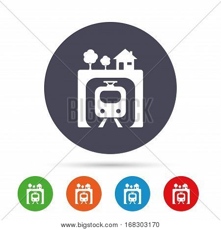 Underground sign icon. Metro train symbol. Round colourful buttons with flat icons. Vector