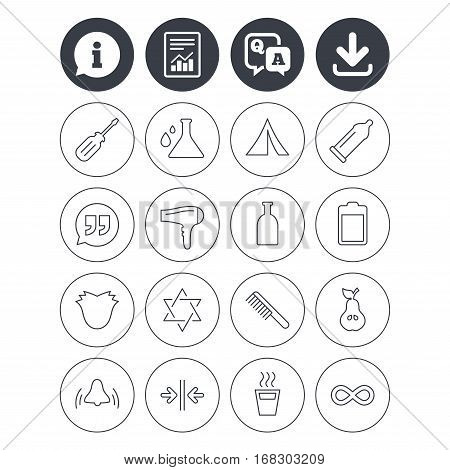 Information, download and report signs. Universal icons. Camping tent, bottle and hot coffee drink. Hair dryer, battery and david star. Screwdriver tool, quotes and camping tent. Vector