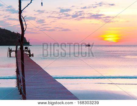 Way to Sunset Nightfall by the Sea