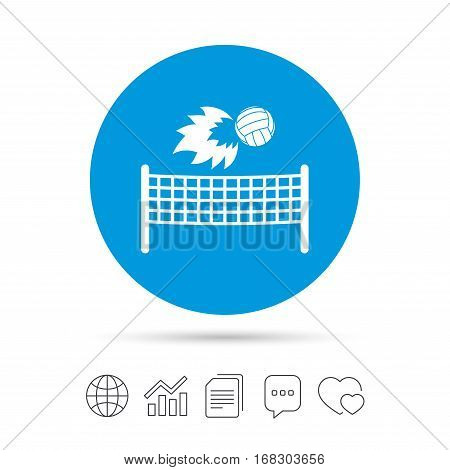 Volleyball net with fireball sign icon. Beach sport symbol. Copy files, chat speech bubble and chart web icons. Vector
