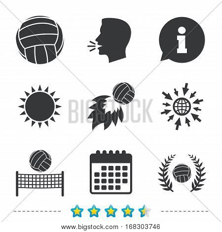 Volleyball and net icons. Winner award laurel wreath symbols. Fireball and beach sport symbol. Information, go to web and calendar icons. Sun and loud speak symbol. Vector