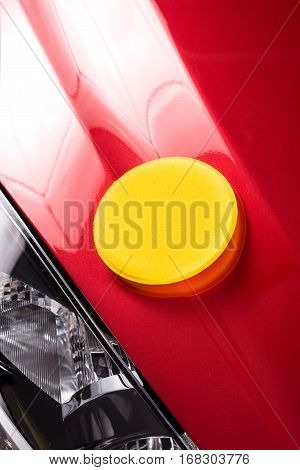 car care polishing the red car, transportation concept