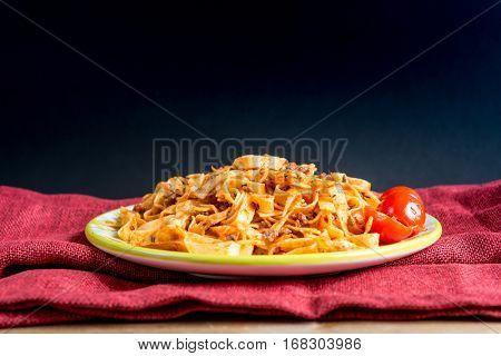 tasty pasta-Italian meat sauce pasta on the table