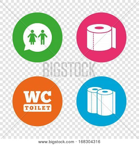 Toilet paper icons. Gents and ladies room signs. Paper towel or kitchen roll. Man and woman symbols. Round buttons on transparent background. Vector