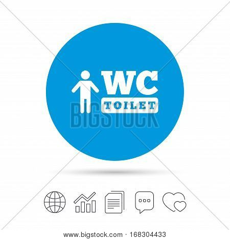 WC men toilet sign icon. Restroom or lavatory symbol. Copy files, chat speech bubble and chart web icons. Vector