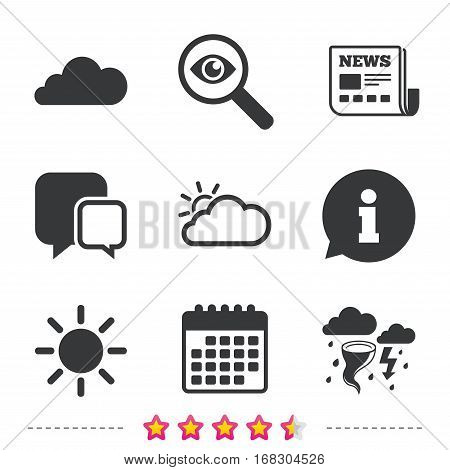 Weather icons. Cloud and sun signs. Storm or thunderstorm with lightning symbol. Gale hurricane. Newspaper, information and calendar icons. Investigate magnifier, chat symbol. Vector