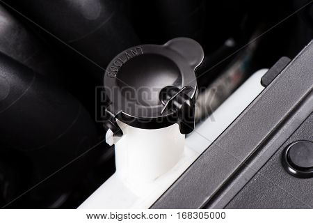 coolant container in engine room, transportation concept