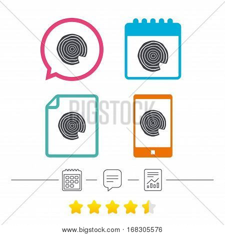 Wood sign icon. Tree growth rings. Tree trunk cross-section with nick. Calendar, chat speech bubble and report linear icons. Star vote ranking. Vector