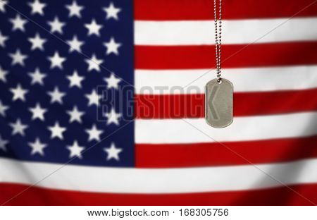 Military ID tag on USA flag background