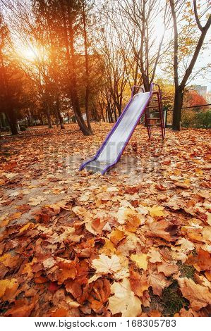 colored playground near the kindergarten golden autumn