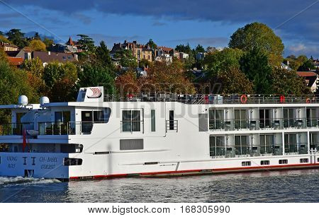 Triel sur Seine; France - november 05 2016 : tourism boat on the Seine river