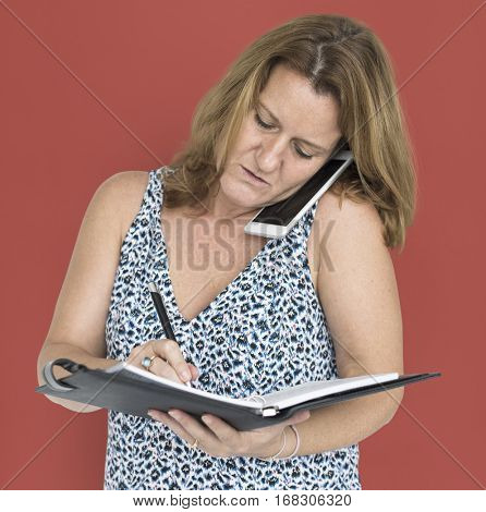 Casual Caucasian Woman Busy Work