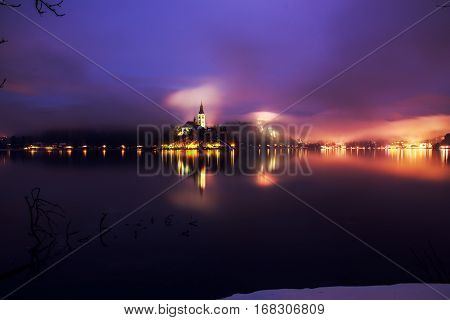 Foggy Dusk In Bled Lake